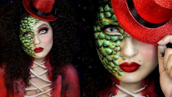 Reptile Ringmaster Circus Freak Halloween Makeup Tutorial