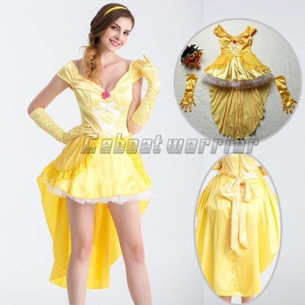 Movie Beauty And Beast Princess Belle Cosplay Costume Yellow Fancy