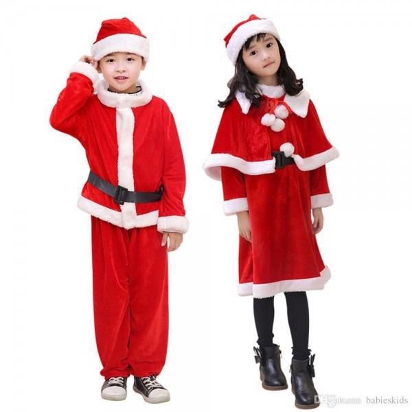 2019 New Year Baby Red Boy Girls With Hat Christmas Santa Claus