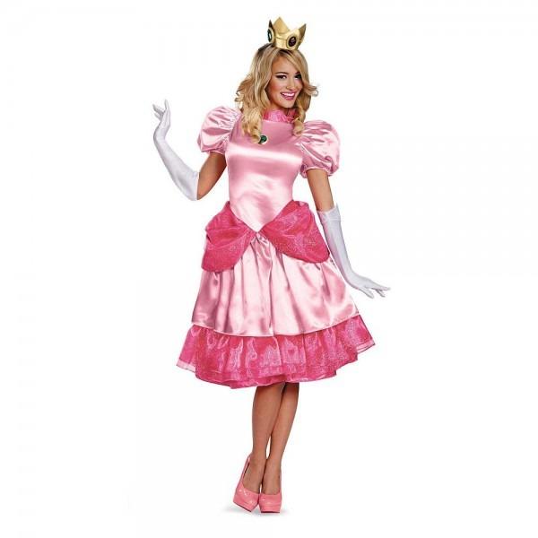 Super Maro Bros  Womens Princess Peach Deluxe Halloween Costume