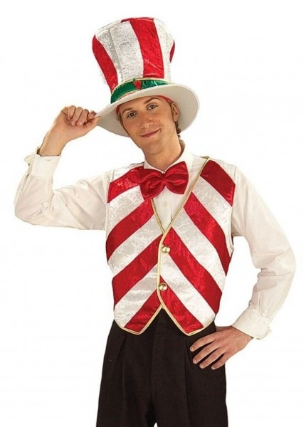Candy Cane Costume Vest Bartender Adult Mr  Peppermint Men's
