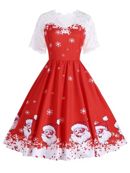 Plus Size Christmas Snowflake Santa Claus Dress In Red 5xl
