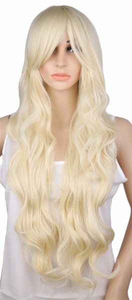 Qqxcaiw Long Curly Blonde Wig Cosplay Costume Party Women 70 Cm