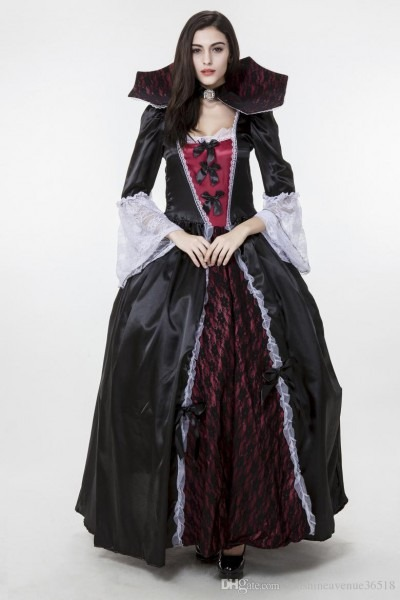 2017 New Adult Vampire Costumes Satin Lace Black Sexy Cosplay