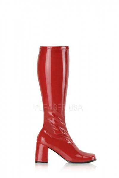 Red Chunky Heel Gogo Boots Patent Faux Leather