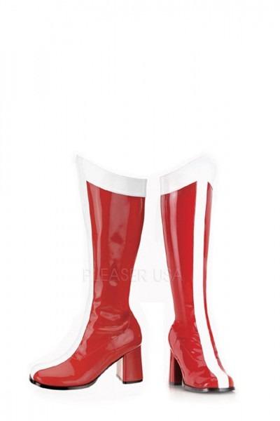 Red White Stripe Super Hero Gogo Boots Patent