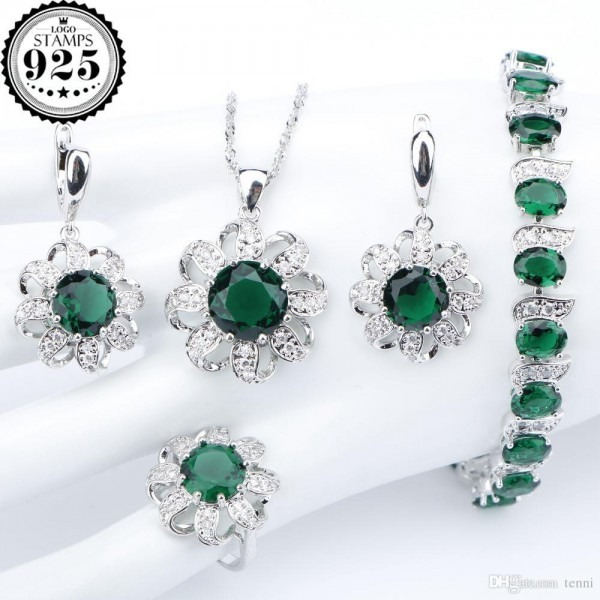 Round Green Zircon Silver 925 Costume Jewelry Sets Women Bracelets