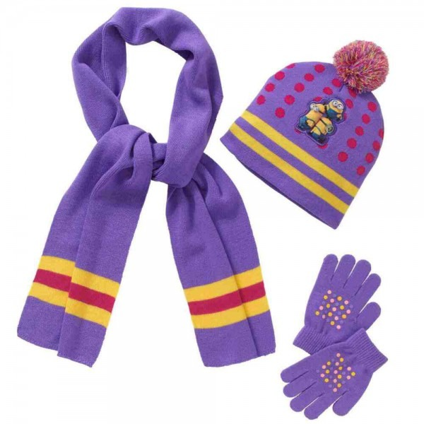 Despicable Me Minions Girls 3 Piece Purple Knit Scarf Gloves & Hat