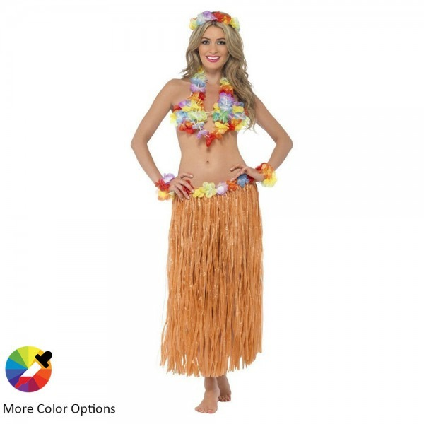 Women's Hawaiian Grass Dress Hula Skirt Flowers Party Halloween