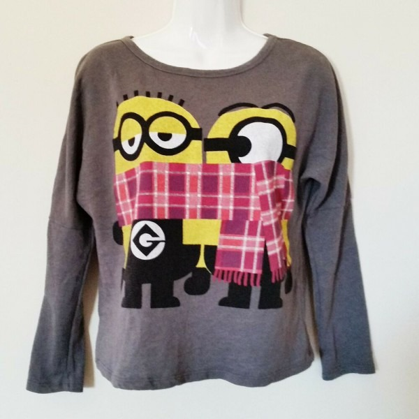 Despicable Me Minion Made Top Sz Xs Gray Scarves Long Sleeve