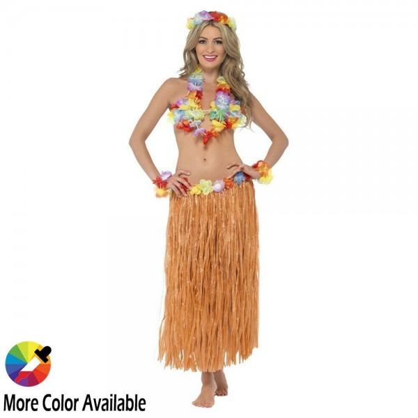 Hawaiian Grass Hula Skirt With Flowers Luau Party Halloween