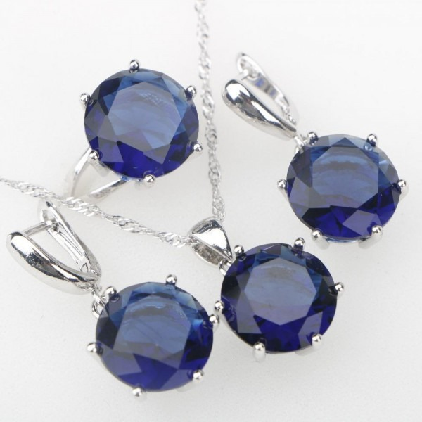 Silver 925 Costume Jewelry Sets Large Blue Cz Pendant Necklace