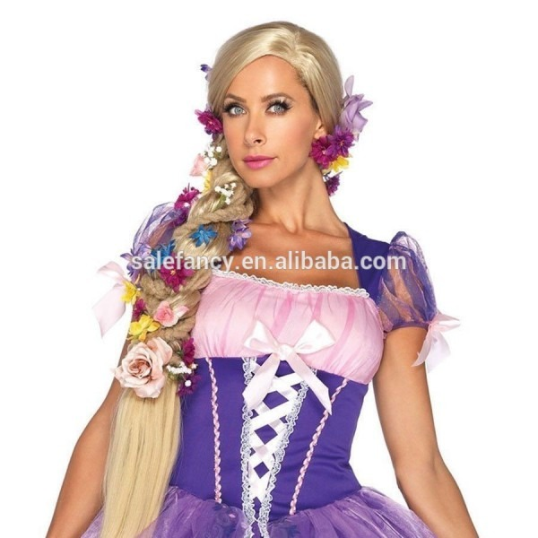 Synthetic Adult Princess Rapunzel Long Blonde Wig Halloween