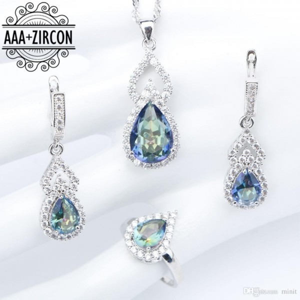 2019 Wedding Silver 925 Costume Jewelry Sets Zircon Necklaces